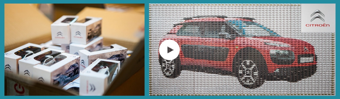 the mosaic installation named wall of cars pays homage to citrons founder andr citron who in the 1920s began creating toy versions of his