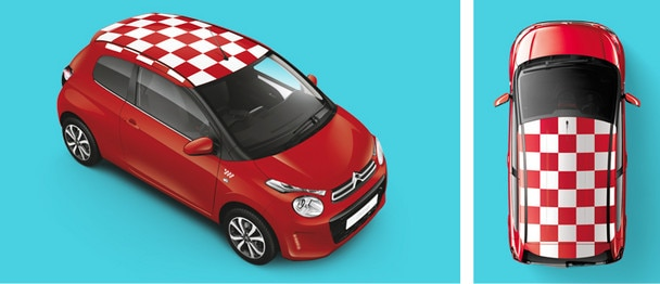 Citroen C1 roof red and white